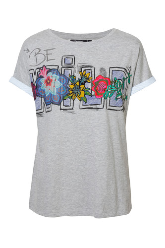 T-shirt Desigual we wzory szary